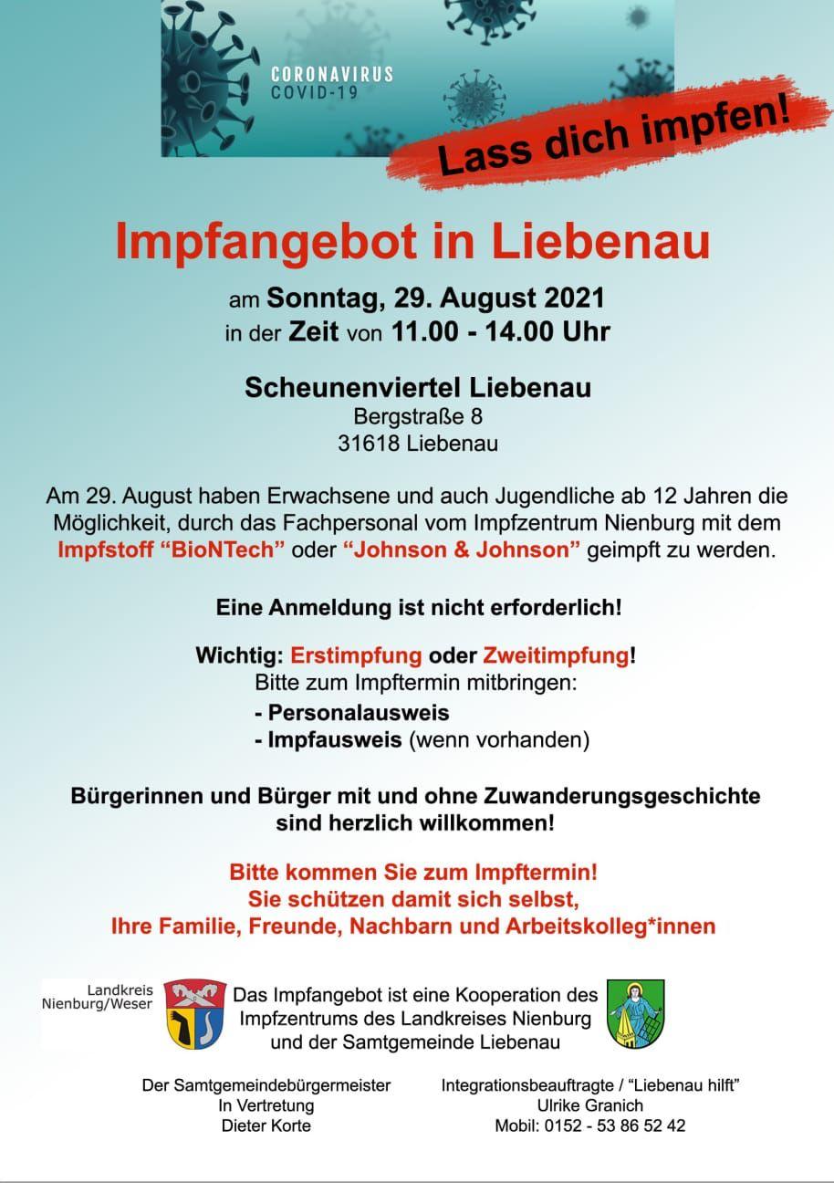 Plakat Impfangebot
